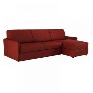 Canapé d'angle SUN convertible RAPIDO 160cm cuir vachette bordeaux  matelas épaisseur 16cm