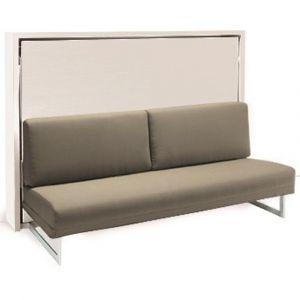 Armoire lit escamotable transversale HOUDINI SLASH blanche canapé taupe couchage 140 cm