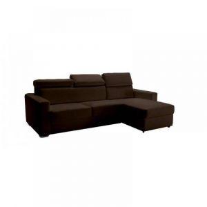 Canapé d'angle réversible RAPIDO SIDNEY DELUXE 140 cm cuir vachette marron + coffre têtières réglables matelas 16 cm