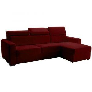 Canapé d'angle réversible RAPIDO SIDNEY 140 cm coffre têtières réglables microfibre bordeaux matelas 16 cm