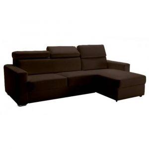 Canapé d'angle réversible RAPIDO SIDNEY DELUXE 160cm + coffre. Têtières réglables. Cuir vachette marron. matelas 16 cm
