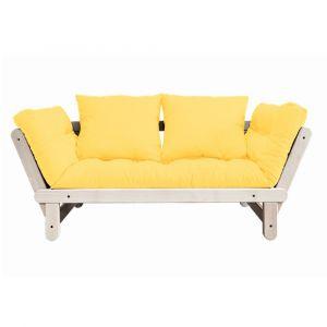 Banquette méridienne futon BALTIK pin naturel tissu jaune couchage 75*200 cm.