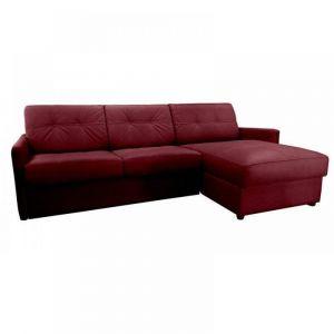 Canapé d'angle réversible RAPIDO CUBE DELUXE 140 cm + coffre. Cuir vachette bordeaux. matelas 16 cm