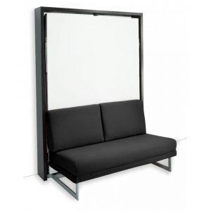 Armoire lit escamotable MAGIC structure wengé façade blanc mat canapé noir