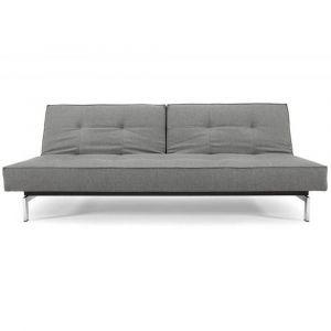 INNOVATION LIVING  Canapé Sofa SPLITBACK  CHROME convertible lit 115*200 cm tissu Flashtex Dark grey