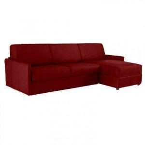 Canapé d'angle SUN convertible RAPIDO 140cm microfibre bordeaux  matelas épaisseur 16cm