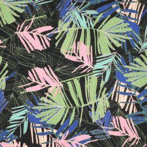 Tissu voile palmes multicolores