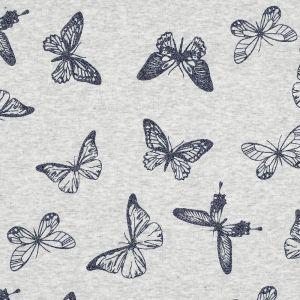 Tissu molleton gris à papillons