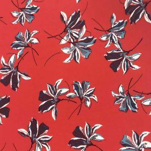 Tissu mousseline rouge grandes fleurs