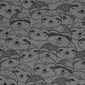 Tissu molleton paresseux gris