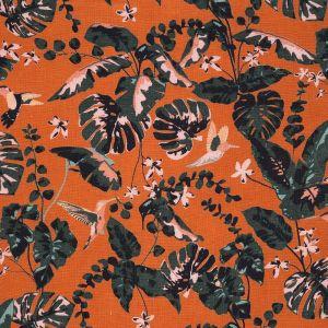 Tissu lin colibri orange