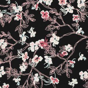 Tissu mousseline fleurs roses