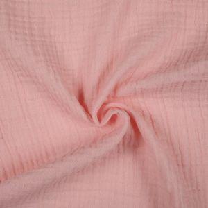 Tissu double gaze coton rose saumon
