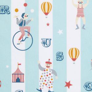 Cretonne imprimee circus rayures bleu