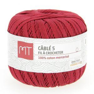 Fil à crocheter n°5 rouge foncé
