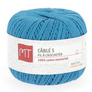 Fil à crocheter n°5 bleu caraïbes