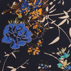 Tissu satin à fleurs marine