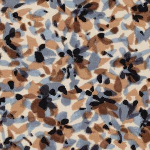 Voile imprimé tacheté bleu et marron