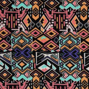 Tissu jersey ethnique multicolore