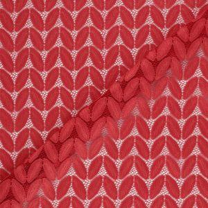 Tissu dentelle feuilles corail