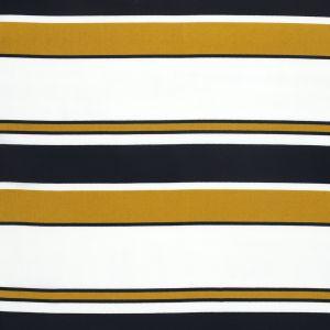 Tissu mousseline rayé jaune et bleu