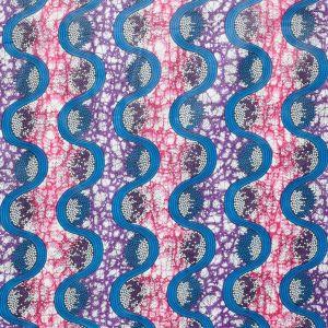 Tissu africain wax bleu et rose