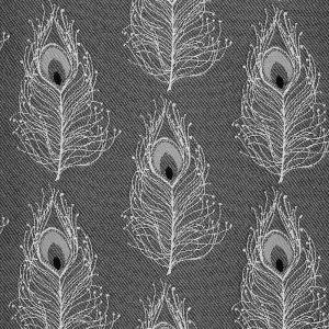 Tissu jacquard plume de paon blanc et noir