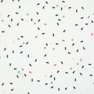 Tissu coton blanc vermicelles multicolores