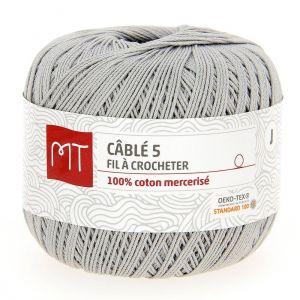 Fil à crocheter n°5 gris clair