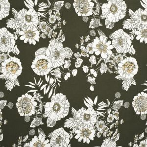 Tissu mousseline kaki fleurs blanches