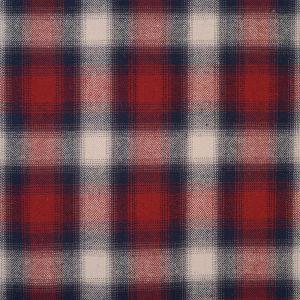 Tissu flanelle de coton à carreaux rouge et marine