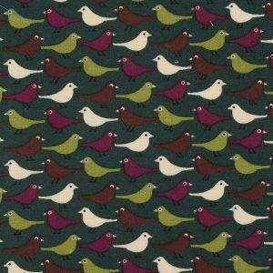 Tissu coton gratté oiseau vert