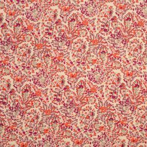 Tissu viscose fleuri rose