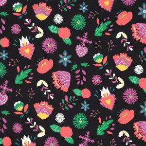 Tissu polyester épais noir fleurs multicolores