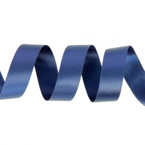 Ruban satin double face 15 mm bleu marine
