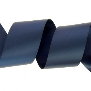 Ruban satin double face 63 mm bleu marine