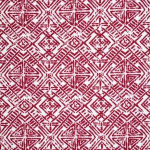 Tissu jersey ethnique rouge et blanc