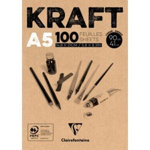 96544C - Bloc collé de 100 feuilles de papier Kraft vergé, 90 g/m², A5