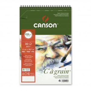 "400060628 - Album spiralé 30 feuilles ""C"" à grain® A4 224g/m², grain fin blanc naturel"