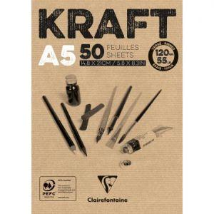 975814C - Bloc collé de 50 feuilles de papier Kraft vergé, 120 g/m², A5