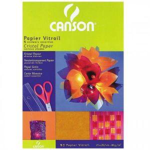 200992700 - Sachet de 5 feuilles papier vitrail A4 40g/m², coloris assortis (5)