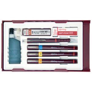 S0699380 - Set Isograph College #3, inc. 3 stylos + 1 portemine + mines + 1 gomme + 1 flacon d'encre + 1 attache-compas