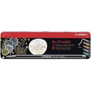 6806/8-32 - Boîte métal de 6 feutres Pen 68, pointe M, couleurs assorties (5)