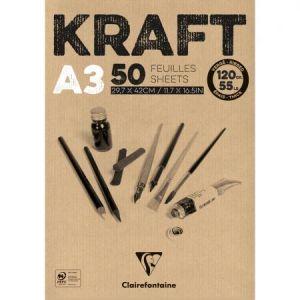 975816C - Bloc collé de 50 feuilles de papier Kraft vergé, 120 g/m², A3