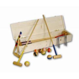 38100 - Jeu de Croquet, en malle bois naturel, pour 8 joueurs