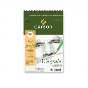 "400060621 - Album spiralé 30 feuilles ""C"" à grain® A5 125g/m², grain fin blanc naturel"