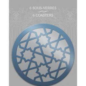 115173C - Etui de 6 sous verre Lalla, en carton pelliculé Ø 11cm, décors assortis (2)