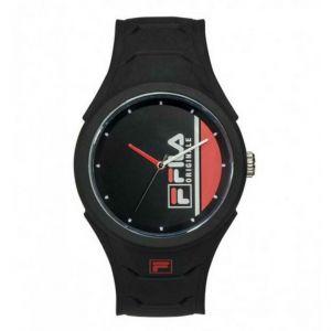 Montre Fila 38-311-003 - Quartz MIYOTA Boitier rond en plastique noir Cadran noir Bracelet noir en silicone Homme,Femme
