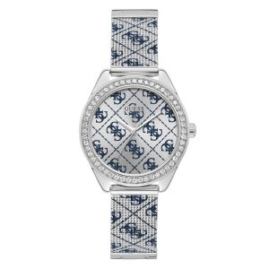 Promo : Montre Guess W1279L1 - CLAUDIA Boîtier acier brillant avec cristaux cadran argenté bleu bracelet maille milanaise acier bleu G-Link  Femme