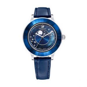 Montre Swarovski 5516305 - Octea Lux Cadran Phase Lune Bracelet Cuir Bleu Lunette Cristal Dark Indigo Femme